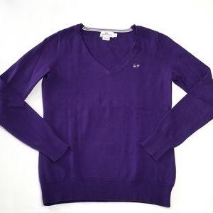 Vineyard Vines Women's V Neck Sweater Purple